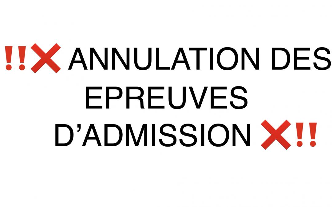Annulation des écrits d'admissibilité et des oraux d'admission